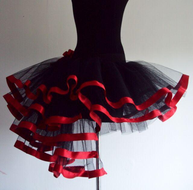 Burlesque Woman's Dita Red Black Tutu Skirt Sexy Bustle Halloween 6 - 24