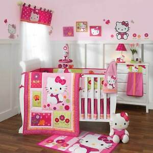 Lambs-amp-Ivy-7-Piece-Crib-Bedding-Set-Hello-Kitty-Garden-Includes-Mobile-NEW