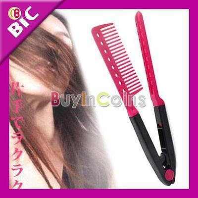 DIY Salon Hairdress Styling Hair Straightener V Comb SC