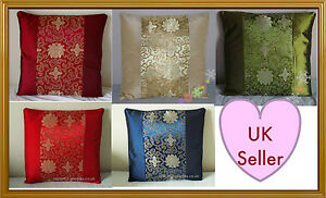 2x-Cushion-Covers-Chinese-Oriental-Lucky-fung-shui-Red-Gold-Green-Blue-Wine