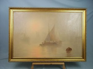 William-L-Wyllie-1851-1931-Oil-Painting-Of-039-Barges-In-The-Mist-At-Sunset-039
