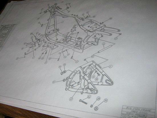 HARLEY DAVIDSON Softail Frame Blueprint Drawing HD poster print Soft Tail parts