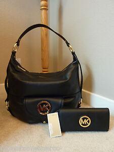 NWT Michael Kors Black Leather Lrg Fulton Shoulder Bag/Hobo   ...