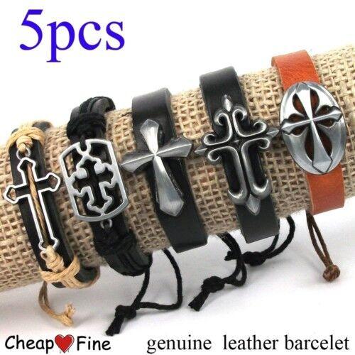 wholesale lots 5pcs Charm CROSS genuine Leather Bracelet HOT