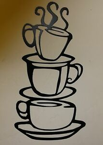 COFFEE CUPS Kitchen Home Decor Metal Wall Art Hanging BK EBay