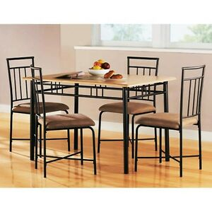 Mainstays-5-Piece-Wood-and-Metal-Dining-Set-Natural-Table-4-Chairs-NEW-SEALED