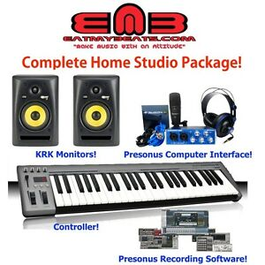 complete home recording studio bundle presonus krk 49 key masterkey ebay. Black Bedroom Furniture Sets. Home Design Ideas