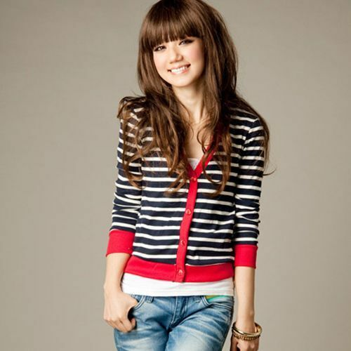Fashion Womens Korean Casual Preppy Style Cardigan Stripe Outwear Outerwear Top