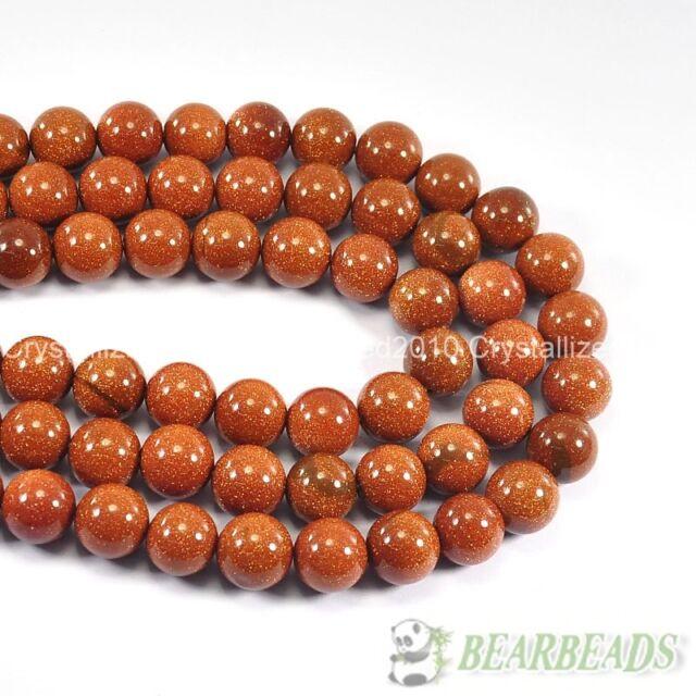 Natural Gold Blue Sand Gemstone Round Ball Beads 4mm 6mm 8mm 10mm 12mm 15.5''