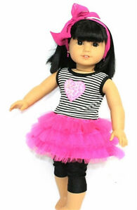3-Piece-Rockin-TUTU-HEADBAND-LEGGINGS-fits-American-Girl-amp-18-034-Dolls