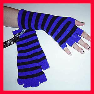 Gothic-Fingerless-Black-Blue-Stripe-Arm-Warmer-Gloves