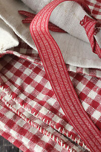 Vintage-French-comforter-duvet-cover-Kelsch-linen-re-check-plaid-design-fabric