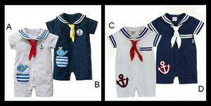 Baby-Boy-Girl-Sailor-One-Piece-Romper-Suit-Grow-Outfit-Summer-Marine
