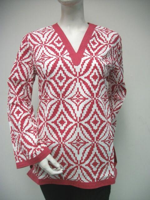 Tracy Negoshian Maria Tunic Top Crimson Red White Print NEW NWT 100% cotton