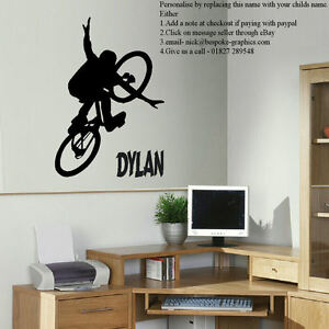 Giant personalised bmx bike childrens art bedroom wall big for Bmx bedroom ideas