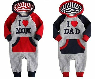 Baby Boys / Girls Romper with hat, Bodysuit, Baby jumpsuit,I love DAD/MOM Design