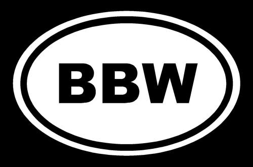 BBW Sticker Big Beautiful Woman White Oval Euro Window