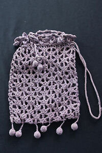 ANTIQUE-EDWARDIAN-HAND-CROCHET-PURPLE-COTTON-PURSE