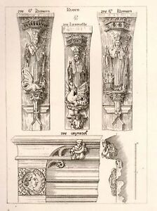 A-W-N-Pugin-039-s-Litho-Designs-1830-CARVED-MOLDINGS