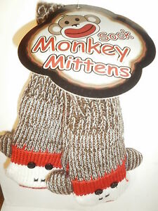 Sock-Monkey-Mittens-New-Red-Fleece-Lining-Youth-Adult-Quality-Warm-Gloves-Fun