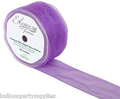 50mm x 20m Sheer Organza Wired Ribbon 27 Colours **Free UK 1st Class Postage**