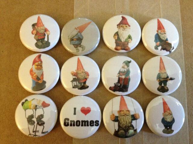 """Set of 12 Garden Gnome 1"""" pins buttons pinback VINTAGE retro emo artsy crafty"""
