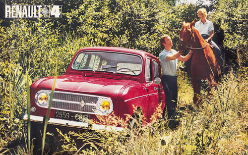Renault 4 White Classic Car  Poster Prints Picture A1