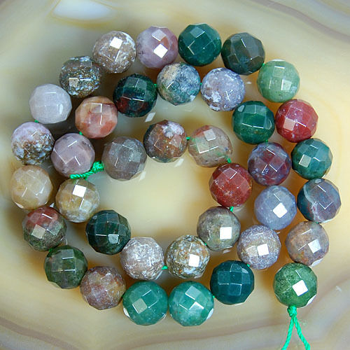 """Faceted Natural Indian Agate Round Beads 15"""" 4 6 8 10 12 14 16mm Pick Size"""