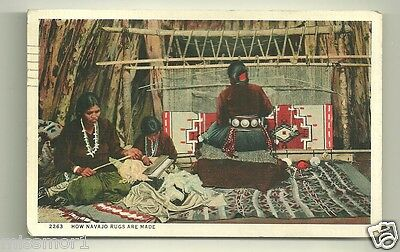 Navajo Indian rugs being made postcard 1944 New Mexico