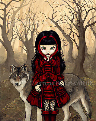 Jasmine Becket-Griffith art print SIGNED Red Riding Hood in Autumn wolf gothic