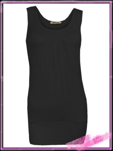 Ladies Front Pleated Plain Womens Vest Top Black Cerise Blue White UK S//M 8 10