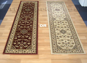 Long Traditional Classic Hallway Runner Red Or Beige Ebay