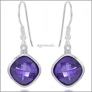 Sterling-Silver-Rhombus-Drop-Dangle-Earrings-with-CZ-Amethyst-Purple-53141