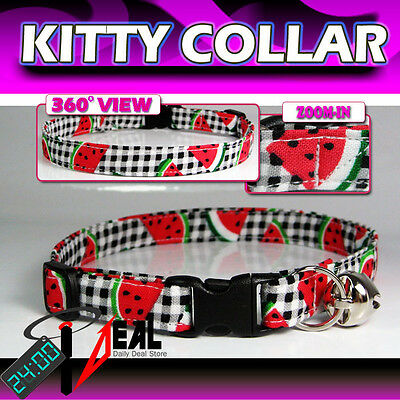 Breakaway SAFETY CAT KITTEN Collar * WaterMelon Stripe*