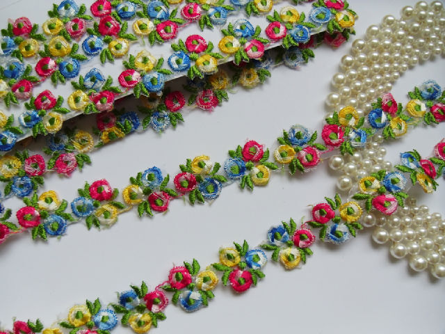 "1"" Colourful Embroidered floral Trims-2 Yards"