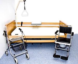 inkl aufbau krankenbett mit matratze pflegebett 90x200 ebay. Black Bedroom Furniture Sets. Home Design Ideas