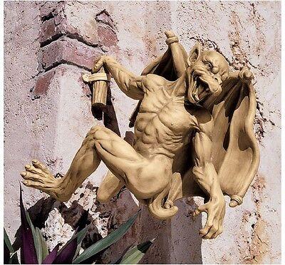 Set of 2:  Medieval European Gothic Gargoyle Climber Sculpture Large