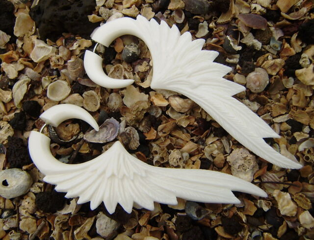 Fake Gauge  Organic White Bone Earrings   Split  Expanders Tribal Cheater