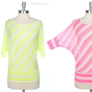 Neon-Multi-Diagonal-Striped-Dolman-Batwing-Half-Sleeve-Top-Casual-Cute-Stylish