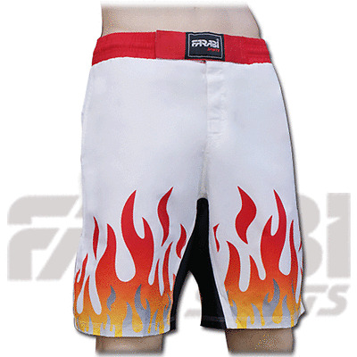 Muay Thai Boxing Kick Short White With Flame Size S - M - L - XL