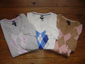 New-Authentic-NWT-TOMMY-HILFIGER-Womens-Sweater-Pima-Cotton-V-Neck-Argyle