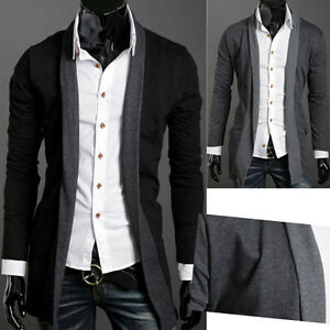 LO-NWT-Mens-long-Slim-Premium-Stylish-Mock-Pockets-Knit-Coat-Casual-Cardigan