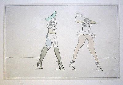 "SAUL STEINBERG Signed 1992 Original 6-Color Etching - ""Legs"""