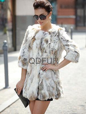 Classic Real Rabbit Fur Jacket Coat Fashion Winter Warm Outwear Women QD22218