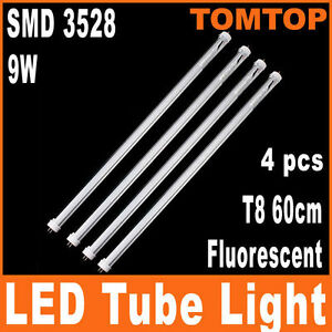 4-X-T8-60cm-9W-SMD-3528-Fluorescent-144-LED-Tube-Light-White-1008-LM