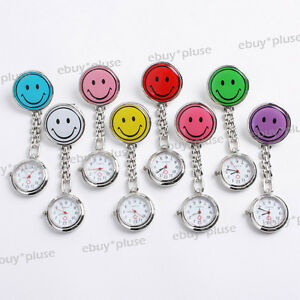 1x Stainless Steel Smile Face Clip On Fob Brooch Nurse Pendant Pocket Watch