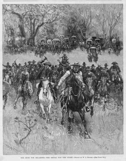 OKLAHOMA BOOMERS RUSH FOR OKLAHOMA HISTORY THE START HORSES WAGON TRAIN WHIP