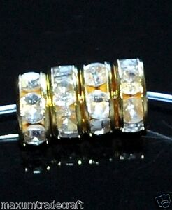 100pcs-gold-clear-white-rhinestone-rondelle-spacer-beads-8mm