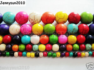 Mix-Colored-Howlite-Turquoise-Gemstone-Round-Beads-16-039-039-4mm-6mm-8mm-10mm-12mm