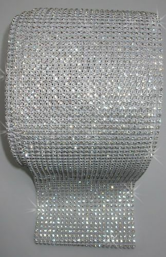 White Clear 1ft 24strip REEL rope chain stitch-on diamante crystal ribbon
